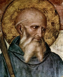 A detail showing the head and shoulders of St. Benedict.