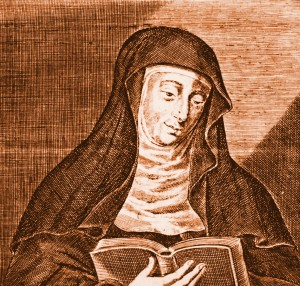 Hildegard von Bingen, Engraving by William Marshall, Fuller's Holy State, 1648.